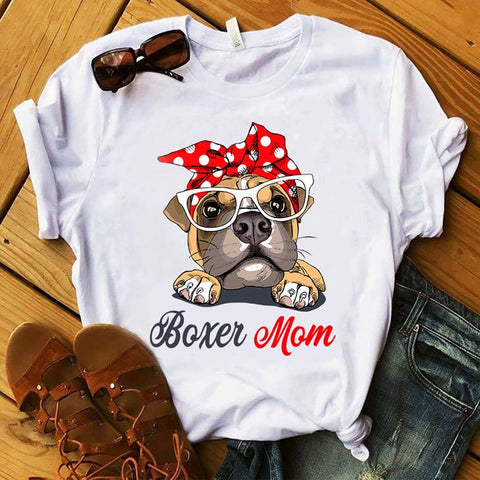 Boxer Mom Printed Women's Round Neck T-Shirt - Ambitionmart