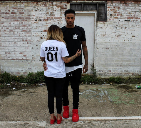 "Couple T-Shirt 2pc Set ""KING QUEEN"" - Ambitionmart"