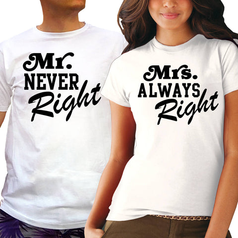 "Couple T-Shirt 2pc Set ""Mr Never Right & Mrs Always Right"" - Ambitionmart"