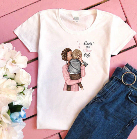 Lovin The Mom Life Printed Women's Round Neck T-Shirt - Ambitionmart