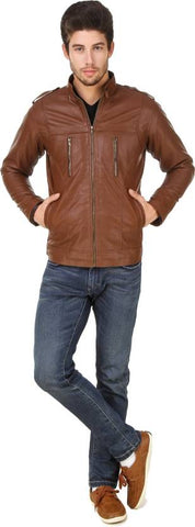 Ejebo Full Sleeve Solid Tan Men's Jacket - Ambitionmart