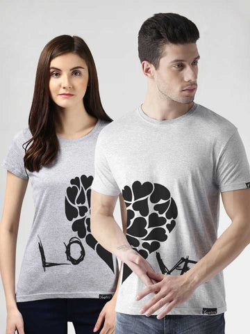 Printed Round Neck Couple T-Shirt  (Pack of 2) - Ambitionmart