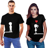 Printed Round Neck Black Couple T-Shirt - Ambitionmart