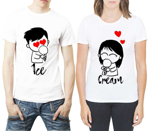 Printed Typography Round Neck White Couple T-Shirt - Ambitionmart