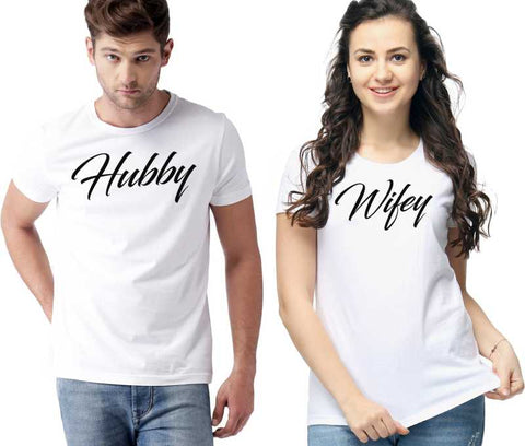 Graphic Print Couple Round Neck White T-Shirt  (Pack of 2) - Ambitionmart