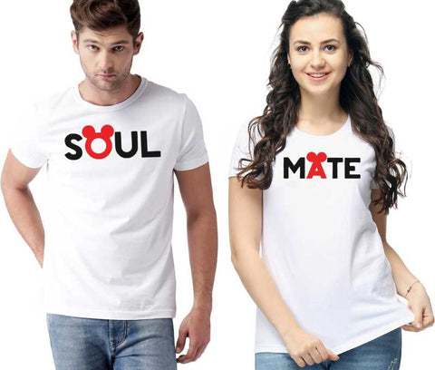 Graphic Print Men & Women Round Neck White T-Shirt  (Pack of 2) - Ambitionmart