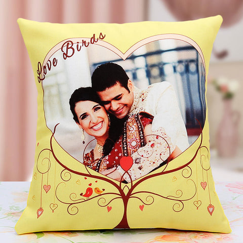 Ejebo Lovebirds Personalized Cushion - Ambitionmart