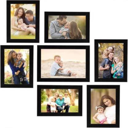 Black Wood Photo Frame Combo (Pack Of 7) - Ambitionmart