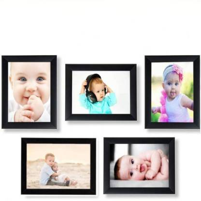 Black Wood Photo Frame Combo (Pack Of 5) - Ambitionmart