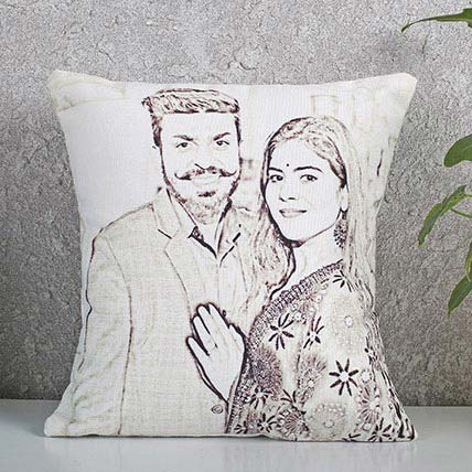 Ejebo Personalized Couple Sketch Cushion - Ambitionmart