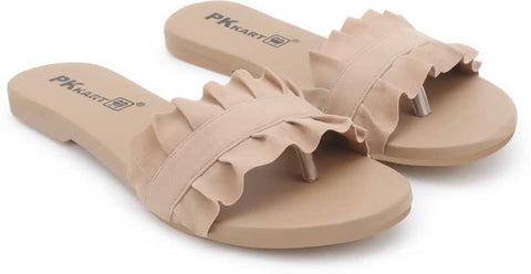 PKKART Beige Flats For Women and Girls - Ambitionmart