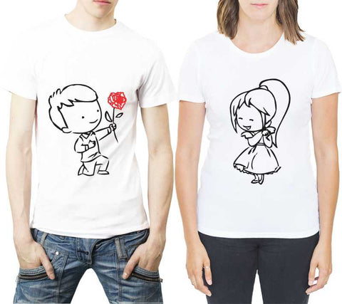 Printed Round Neck White Couple T-Shirt - Ambitionmart