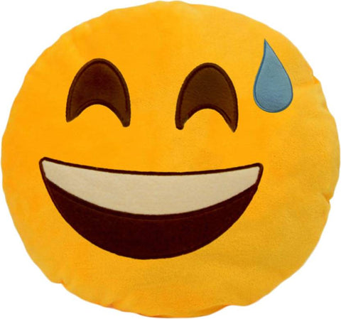 Ejebo Grinning Face with Sweat Smiley Decorative Cushion - Ambitionmart