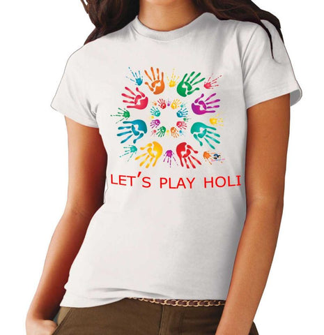 Happy Holi Colorful Girl's Round Neck T-Shirt - Ambitionmart