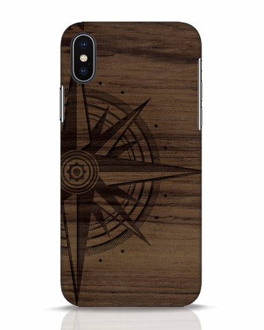 Wood Compass iPhone X Mobile Cover - Ambitionmart