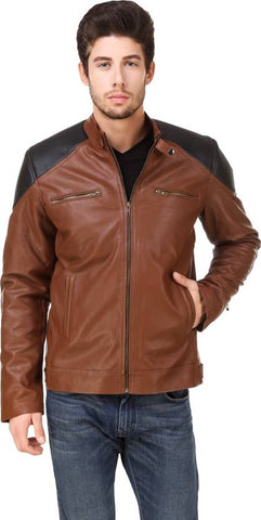 Ejebo Full Sleeve Solid Black & Tan Men's Jacket - Ambitionmart