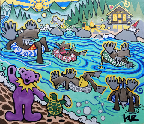 A family of Moose tubing down a magical River. 6 foot by 7 foot Acrylic Painting on MDO.