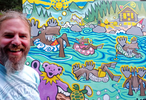 Selfy with the tubing Moose and Grateful Dead Dancing Bear painting