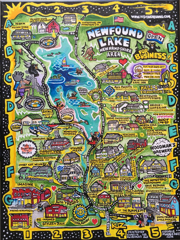 Whimsical Map Painting of Newfound Lake Area New Hampshire