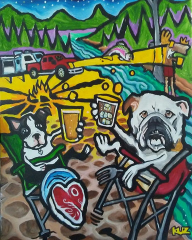 Dogs camping, New Hampshire wildlife painting, New Hampshire Artist Charles Kuizinas, Cosmic Moose Art