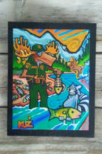 Moose Fish and Game Officer and Raccoon wooden Print Panel