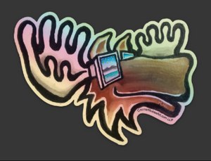 Cosmic Moose Hologram Sticker