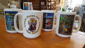 Cosmic Moose Art 2 sided jumbo coffee mugs