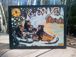 Snowmobile Bears Wooden Print Panel