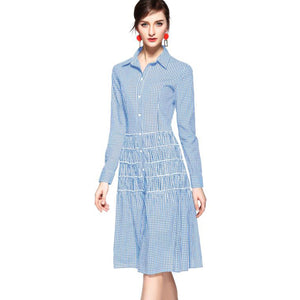 Gingham Blue Collared Dress 2612B - MissFinchNYC, modest, modest clothing, trendy modest clothing, modest apparel, modest fashion, tznius clothing, tzinuis fashion