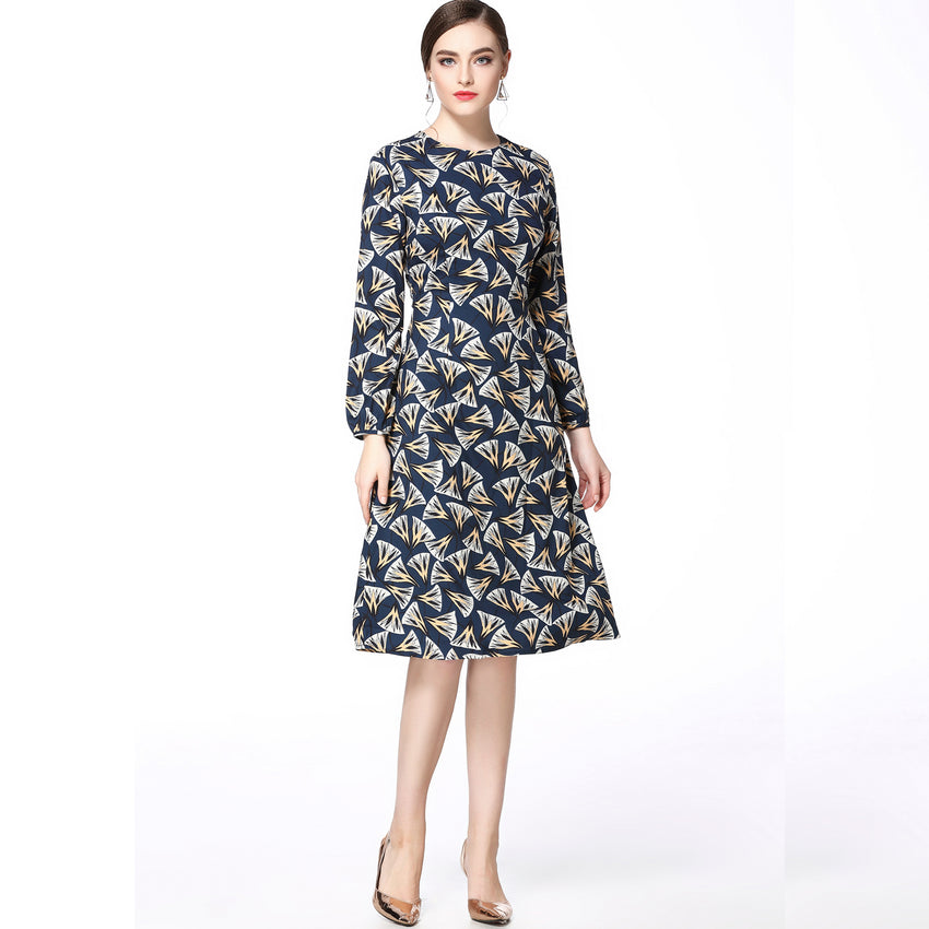 Navy Long Sleeved Print Dress 2635 - MissFinchNYC, modest, modest clothing, trendy modest clothing, modest apparel, modest fashion, tznius clothing, tzinuis fashion