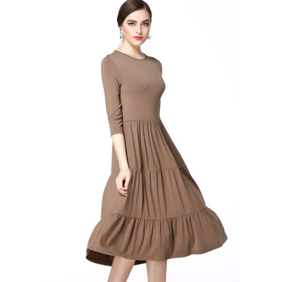 Mocha 3/4 Sleeve Tiered Dress 2636M - MissFinchNYC, modest, modest clothing, trendy modest clothing, modest apparel, modest fashion, tznius clothing, tzinuis fashion