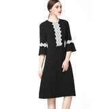 Detailed Black & White A Line Dress 2641 - MissFinchNYC, modest, modest clothing, trendy modest clothing, modest apparel, modest fashion, tznius clothing, tzinuis fashion