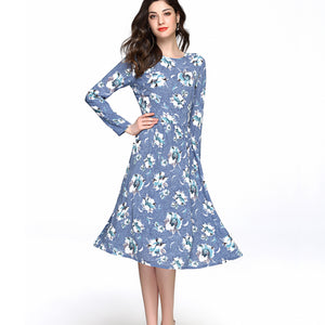 Modest Floral Swing Dress 2654 - MissFinchNYC, modest, modest clothing, trendy modest clothing, modest apparel, modest fashion, tznius clothing, tzinuis fashion