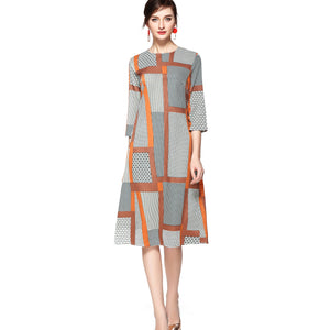 Graphic Geometric A Line Dress 2660 - MissFinchNYC, modest, modest clothing, trendy modest clothing, modest apparel, modest fashion, tznius clothing, tzinuis fashion
