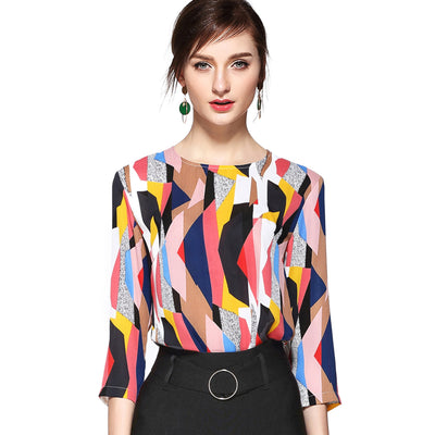 Abstract Bright Print Blouse 2671