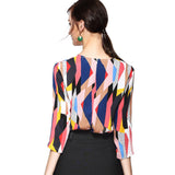 Abstract Bright Print Blouse 2671 - MissFinchNYC, modest, modest clothing, trendy modest clothing, modest apparel, modest fashion, tznius clothing, tzinuis fashion