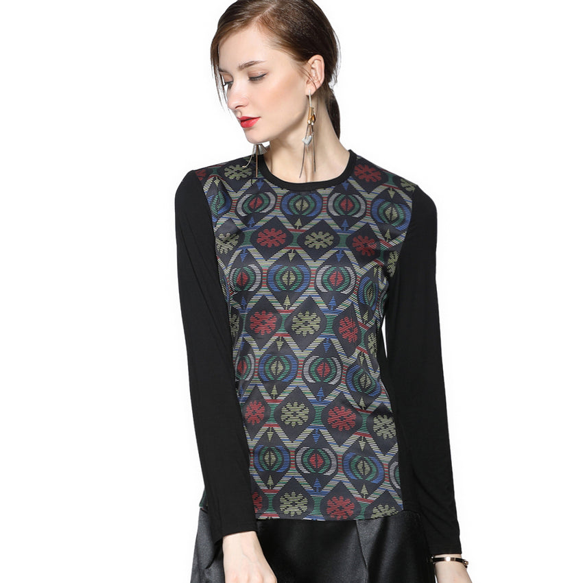 Abstract Pattern Long Sleeve T 2686G - MissFinchNYC, modest, modest clothing, trendy modest clothing, modest apparel, modest fashion, tznius clothing, tzinuis fashion