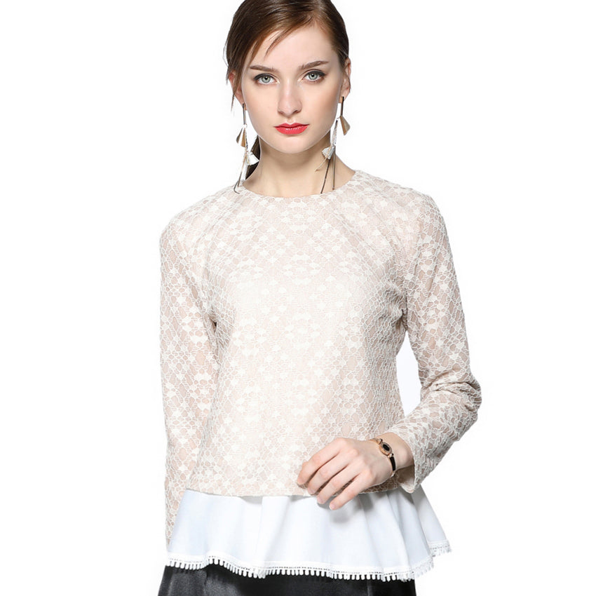 Embroidered Lace Top with Contrast Fabric 2687 - MissFinchNYC, modest, modest clothing, trendy modest clothing, modest apparel, modest fashion, tznius clothing, tzinuis fashion