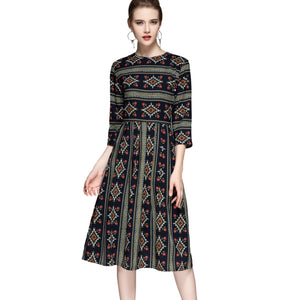 Folk Motif Dress 2692 - MissFinchNYC, modest, modest clothing, trendy modest clothing, modest apparel, modest fashion, tznius clothing, tzinuis fashion