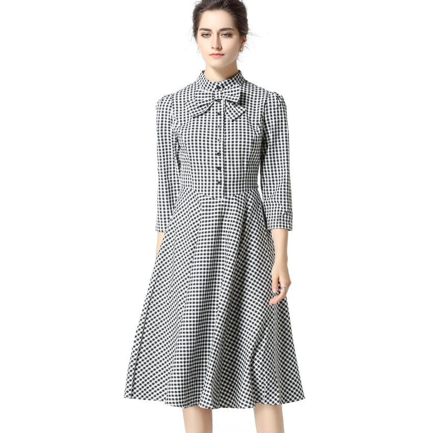 Plaid Swing Dress 2696 - MissFinchNYC, modest, modest clothing, trendy modest clothing, modest apparel, modest fashion, tznius clothing, tzinuis fashion