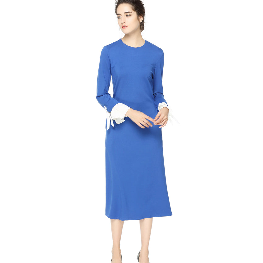 Aqua A Line Dress with Detailed Cuffs 2707A - MissFinchNYC, modest, modest clothing, trendy modest clothing, modest apparel, modest fashion, tznius clothing, tzinuis fashion