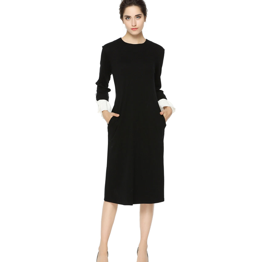 Black A Line Dress with Detailed Cuffs 2707B - MissFinchNYC, modest, modest clothing, trendy modest clothing, modest apparel, modest fashion, tznius clothing, tzinuis fashion