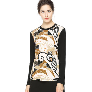 Artsy Print Long Sleeve T 2708 - MissFinchNYC, modest, modest clothing, trendy modest clothing, modest apparel, modest fashion, tznius clothing, tzinuis fashion