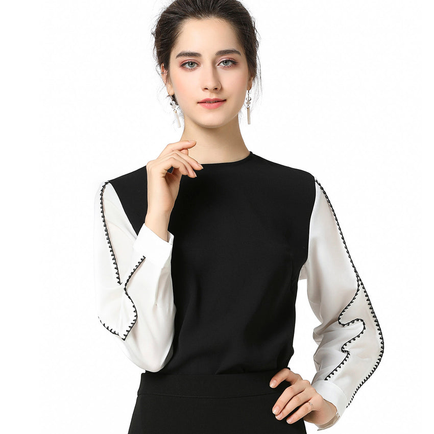 9953a943a7 Miss Finch NYC Modest Contrast Top Stitched Sleeve Black Top 2779 ...
