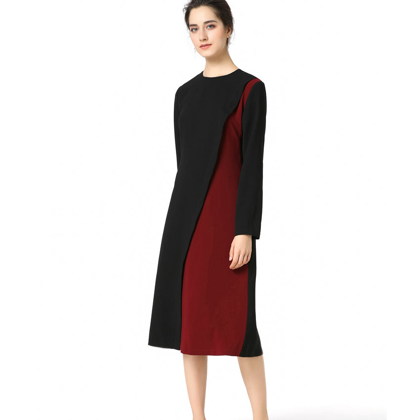 Diagonal Two Tone Dress 2722 - MissFinchNYC, modest, modest clothing, trendy modest clothing, modest apparel, modest fashion, tznius clothing, tzinuis fashion