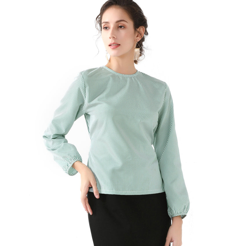 Green & White Tie Shirt 2728 - MissFinchNYC, modest, modest clothing, trendy modest clothing, modest apparel, modest fashion, tznius clothing, tzinuis fashion