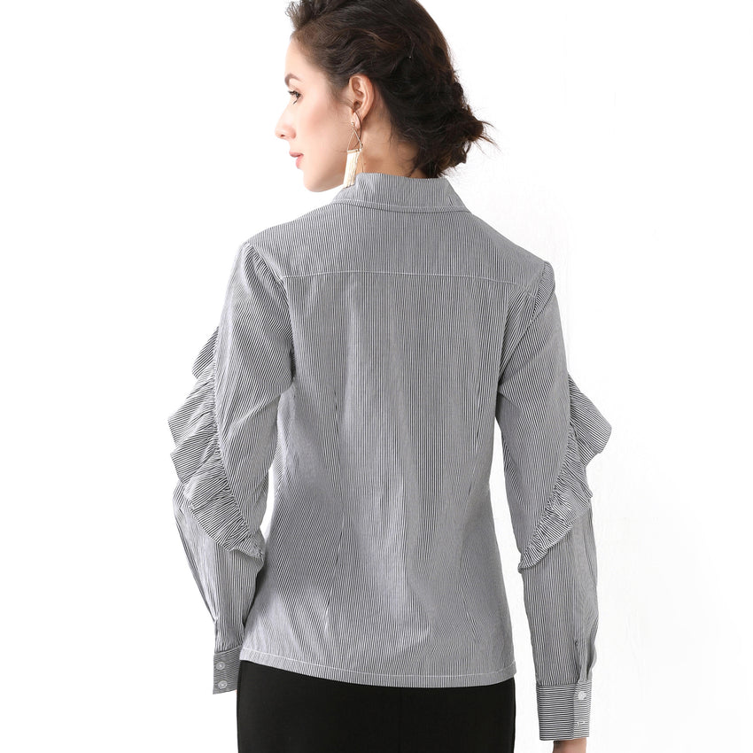 Collar Shirt with Arm Ruffle Trim 2729 - MissFinchNYC