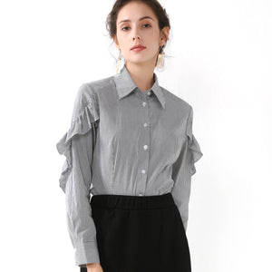Collar Shirt with Arm Ruffle Trim 2729 - MissFinchNYC, modest, modest clothing, trendy modest clothing, modest apparel, modest fashion, tznius clothing, tzinuis fashion