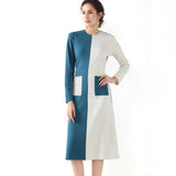 Color Block Blue & White A Line Pocket Dress 2731 - MissFinchNYC, modest, modest clothing, trendy modest clothing, modest apparel, modest fashion, tznius clothing, tzinuis fashion