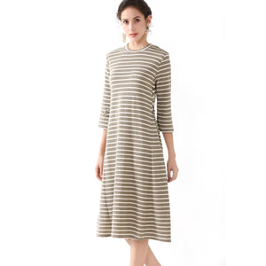 Striped Side Tie Casual Dress 2735 - MissFinchNYC, modest, modest clothing, trendy modest clothing, modest apparel, modest fashion, tznius clothing, tzinuis fashion